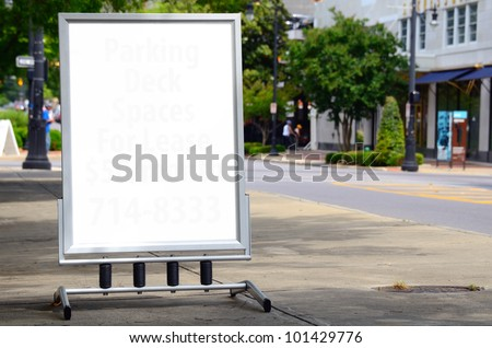 Blank Sign on a city sidewalk