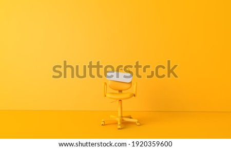 Blank sign on an empty chair. Hiring new job vacancy concept. 3D Rendering Сток-фото ©