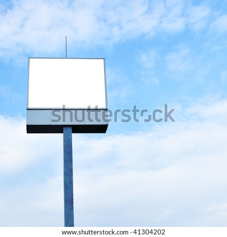 Blank sign on the post, put your own text or image here