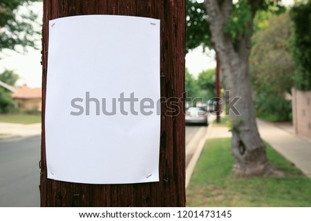 Blank sign stapled to a telephone pole
