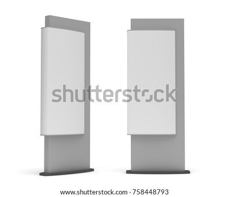 Blank Sign Tower (Isolated on white background) 3d rendering