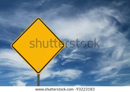 Blank Sign with a background of swirling or stormy clouds