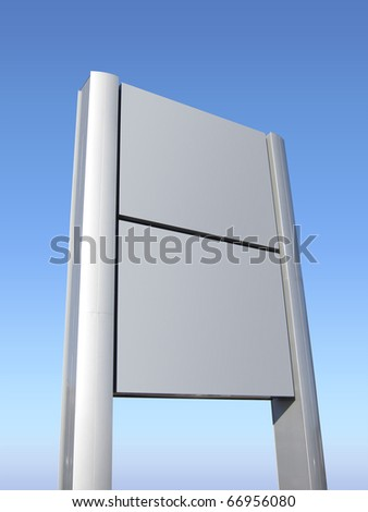 Blank signpost in brushed aluminum on lawn with blue sky , isolated with clipping path