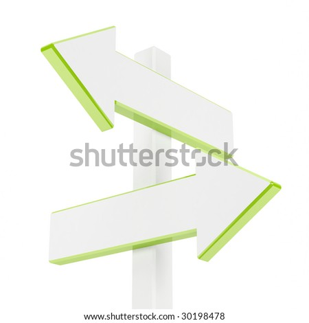 Blank signpost on a white background. 3d image.