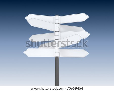 Blank signpost on blue sky background
