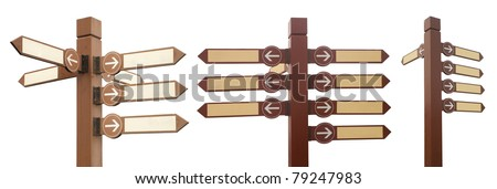 blank signpost with arrow,isolated on white