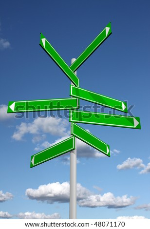 Blank signpost with sky background