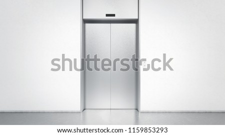 Blank silver closed elevator in office floor interior mock up, front view, 3d rendering. Empty lift with buttons near concrete wall mockup. Concept of business center or hotel lifting template
