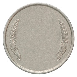 Blank silver medal on a white background