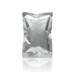 Blank silver metallic packaging foil sachet bag isolated on white background with clipping path