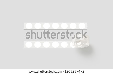 Blank silver tape with white round stickers mockup, isolated, 3d rendering. Empty adhesive circle tag on roll mock up. Clear release liner glue label. Severed line with sticky for sale or message.