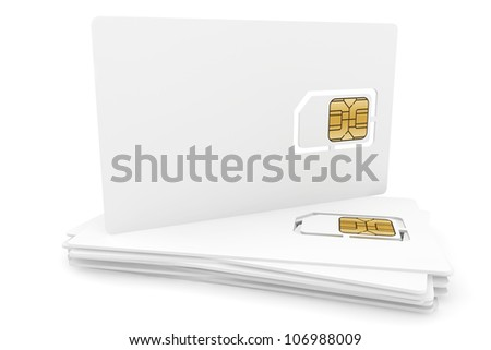 Blank sim cards on a white background