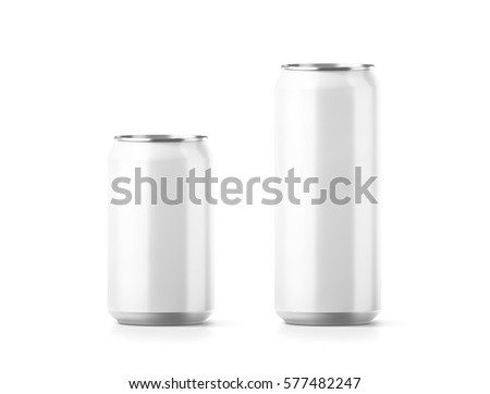 Blank small and big aluminium soda can mockup, 3d rendering. Empty beer tin packing mock ups set, isolated. Canned drink jar packaging design template. Plain fizzy pop bank package branding.