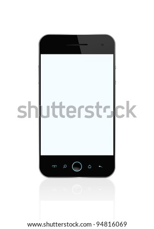Blank smart phone isolated on white with clipping path