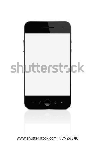 Blank smart phone isolated on white with clipping path for the screen