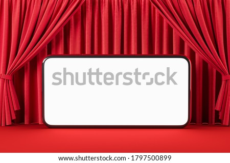 Blank smartphone screen against the background of red curtains like in a movie theater or theater. Movie online presentation concept. Social video network. Mock up. 3d rendering