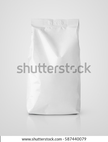 Blank snack white paper bag package on gray. Plastic packaging with clipping path #587440079