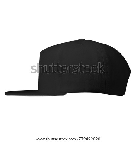 blank snapback baseball hat caps template left side view in black color on white background for mockup