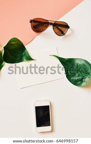 Blank space of diary book,flower and smart phone on white background,top view  - Shutterstock ID 646998157