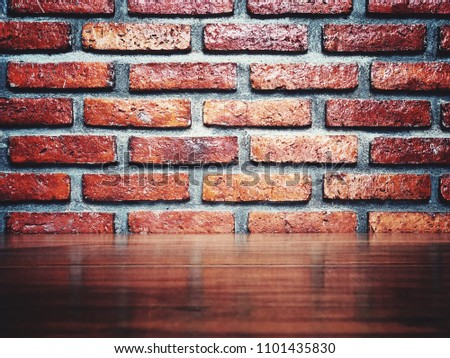Blank space Vintage classy brick wall and glossy table for retro style background #1101435830