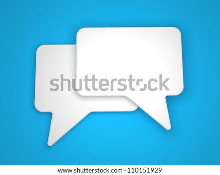 Blank Speech Bubble on Blue Background