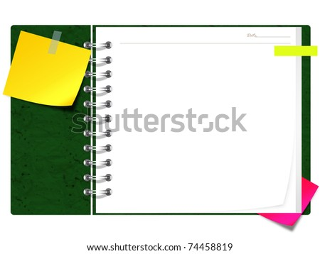 blank spiral book with yellow note paper