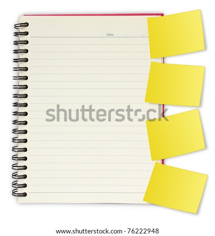 blank spiral book with yellow note paper. isolated on white background