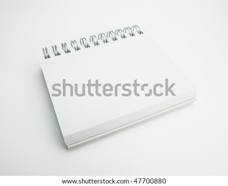 Blank spiral memo pad with natural white background