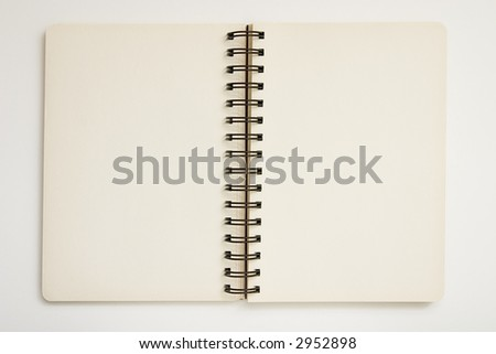 Blank spiral notebook ready for writing