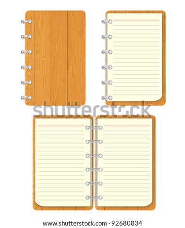 Blank spiral notebook with texture wood front cover.  isolated on white background