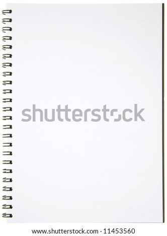 Blank Spiral Notepad isolated on White. Ready for your message.