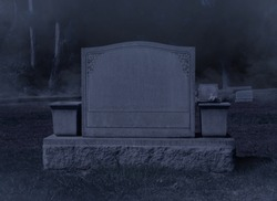 Blank Spooky Halloween Grave Stone at Night