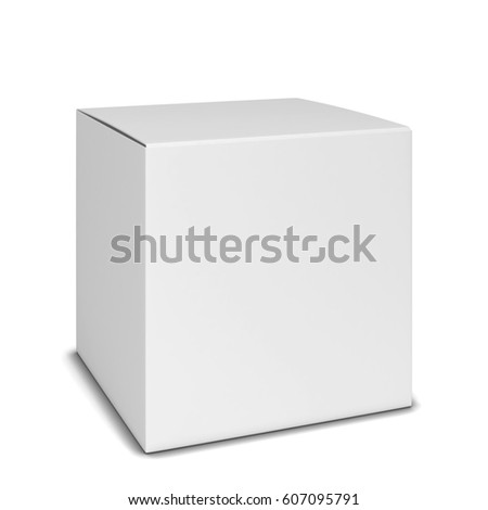 Blank square box. 3d illustration isolated on white background