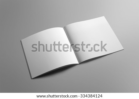 Blank square brochure magazine isolated on grey, with clipping path, changeable background #334384124