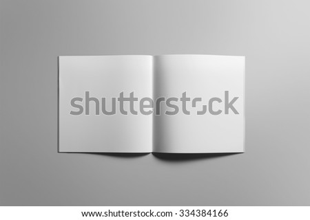 Blank square brochure magazine isolated on grey, with clipping path, changeable background #334384166