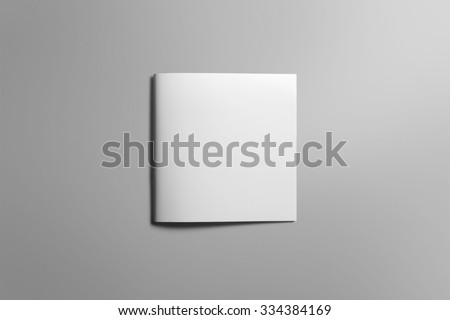 Blank square brochure magazine isolated on grey, with clipping path, changeable background #334384169