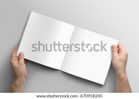 Blank square photorealistic brochure mockup on light grey background.  #670958245