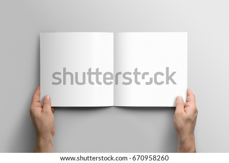 Blank square photorealistic brochure mockup on light grey background.  #670958260