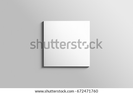 Blank square photorealistic brochure mockup on light grey background, 3d Illustration.