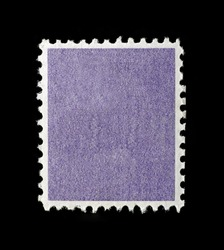 Blank square postage stamp with purple patterned background.