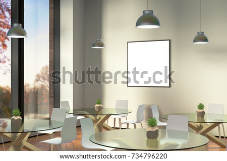 Modern meeting room interior with empty framed poster image