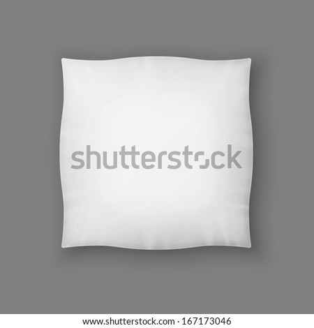 Blank Square White Pillow. Raster Version