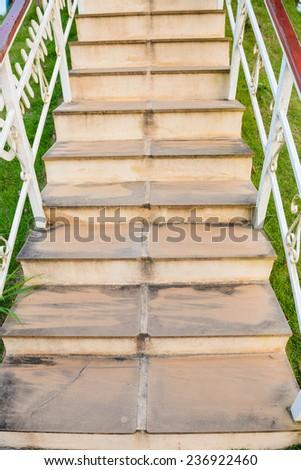 Blank stairways with wood railing