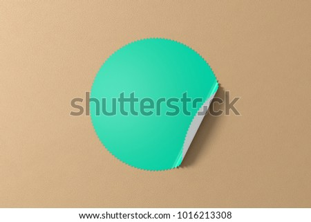 Blank star turquoise sticker with bent edge on beige leather background. 3d illustration #1016213308