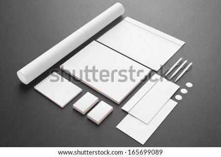 Blank Stationery / Corporate ID Set . Consist of Business cards, Folder, envelopes, a4 letterheads, pens,folder.