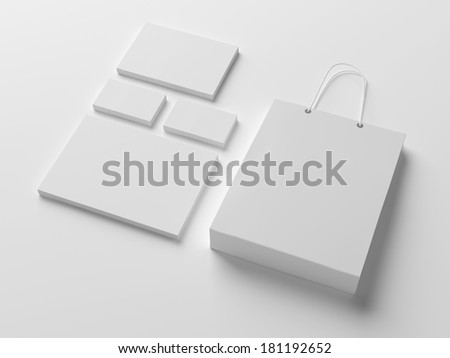 Blank stationery isolated on white with soft shadows
