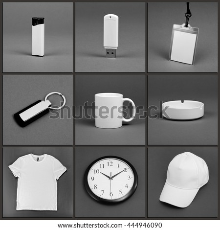 Blank stationery set for corporate identity system on gray background #444946090