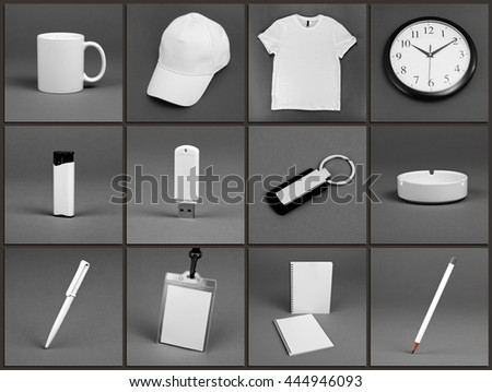 Blank stationery set for corporate identity system on gray background #444946093