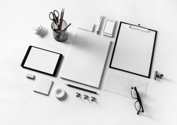 Blank stationery set on paper background. Corporate identity template. Responsive design mockup.