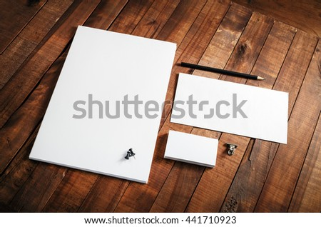 Blank stationery template. Blank stationery set on wooden table background. ID template. Mock-up for branding identity for designers. #441710923